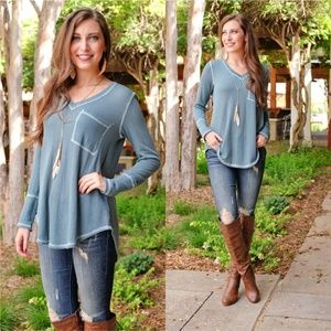 Teal Ribbed Knit V Neck Tunic